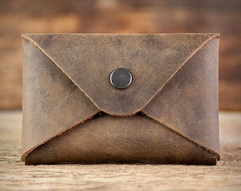 business card holder leather case brown blue green red beige gray birthday gift for colleagues men women boss brother sister