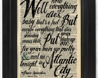 Bruce Springsteen Atlantic City The Boss on Antique Dictionary Page, art print, Wall Decor, Wall Art Mixed Media Collage Calligraphy