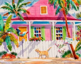 Chicken Art, Key West, Chicken Painting, Palm Tree Painting, Rooster Print, Cat Painting, Tropical Art, Watercolor Print, Colorful Painting