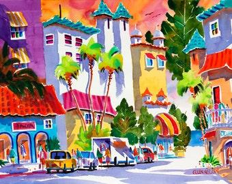 Delray Beach Florida Tropical Painting, 5 x 7, 8 x 10, 11 x 14 Watercolor Print, Colony Hotel, Beach Art, Beach Painting, Tropical Art
