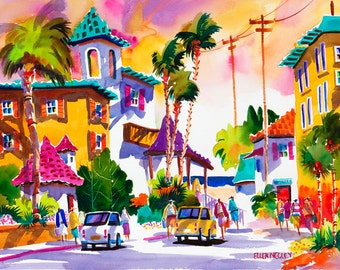 Beach Art Key West Tropical Art Watercolor Print, Tropical Painting Ellen Negley Florida Art, Beach Printing, 11 x 14, 16 x 20 and 20 x 24