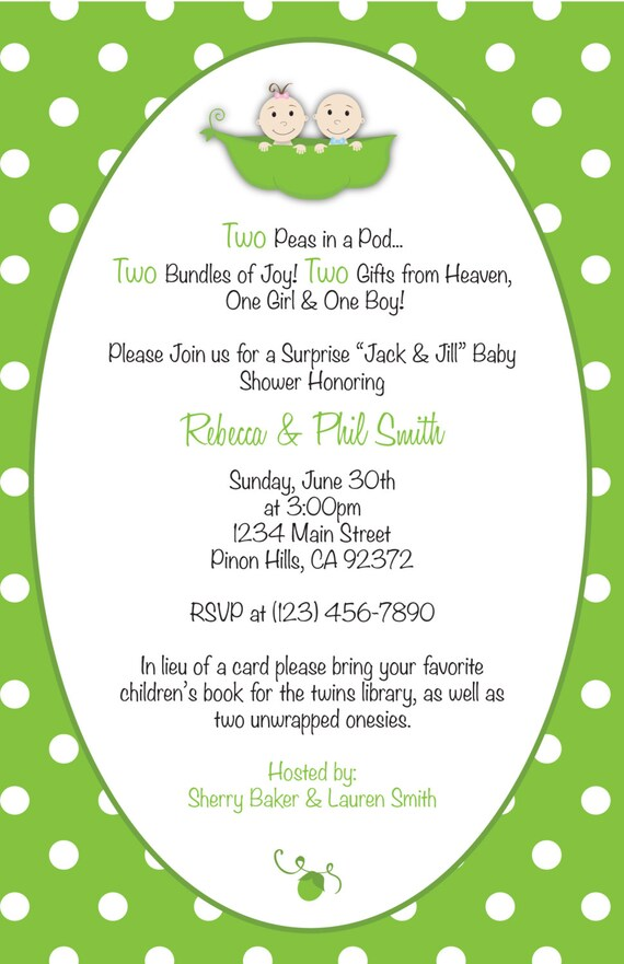 Two Peas In A Pod Baby Shower Invitation & Thank You Card