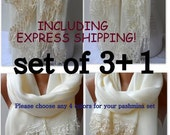 SET OF 3 1 Wedding Shawls Bridesmaid Soft Lightweigt Cotton French Lace Pashmina Shawls Lace Scarfs Bridesmaid Women Trend Feminine Shawls