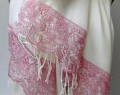 Cream Pashmina shawl with Rose gold French lace Shawls Bridesmaid shawls Elegance Wedding Bridal Spring wraps lightweigt shawl