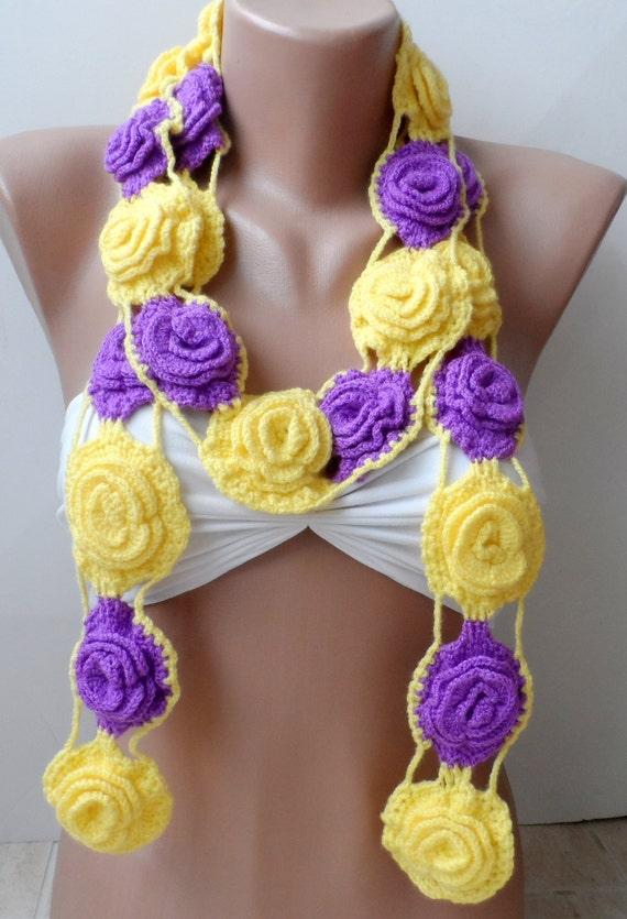 GROSSE Rosen häkeln Schal Valentines Schal häkeln Halskette | Etsy