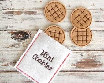Pretend Play Felt Food, Tea Party Cookies with Cookie Bag