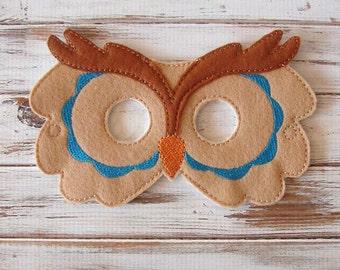 Owl Mask, Blue, Kids, Felt Mask, Dress Up, Halloween Costume