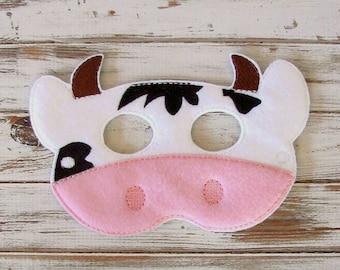 Cow Felt Kids Mask, Farm Animal Dress Up Play, Halloween Costume,