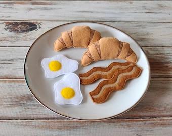 Felt Food Bacon and Eggs, Breakfast Set, Croissant, Milk Bottle