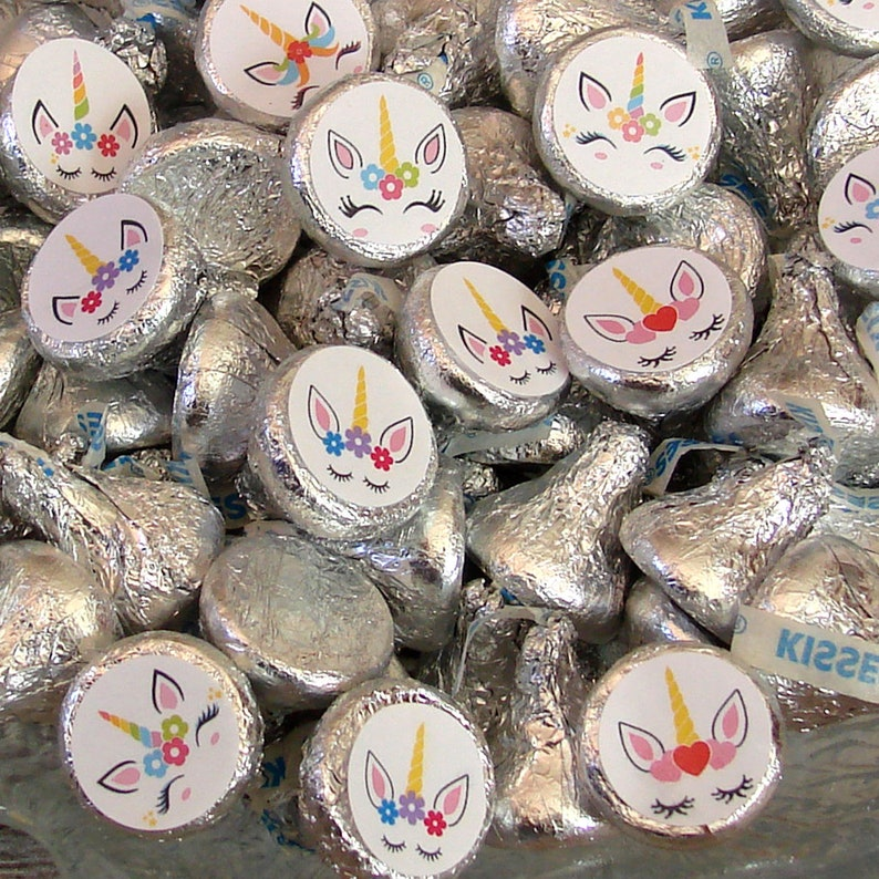 Printed Teen Tween Unicorn Candy Kiss Stickers Magical Birthday Party Favors