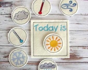Kids Weather Chart, Educational Toy, Preschool, Montessori Learning Weather, Felt Toy