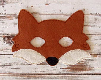 Fox Mask,  Felt Kids Animal Mask, Costume Dress Up, Halloween, Pretend Play
