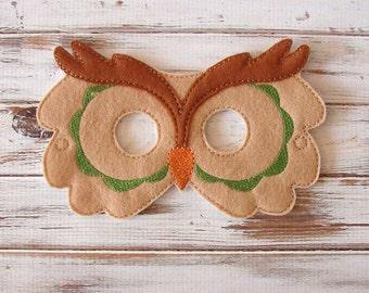 Owl Mask, Felt Kids Mask,  Green, Costume Dress Up Halloween