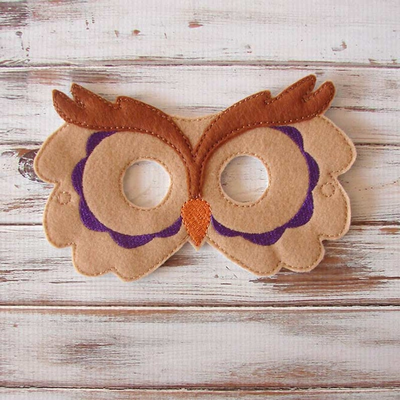 Owl Mask Felt Mask Dress Up Blue Halloween Costume Kids