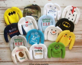 Elf Costume, Elf Shirt Christmas Sweater Outfit, Doll Clothes Believe in Your Elf