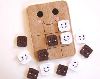 Tic Tac Toe Kids Game Travel Game, Educational, Felt Toy Smores