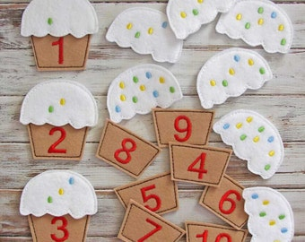Counting Game Learning Numbers,  Educational Felt Toy, Toddler Preschool Games