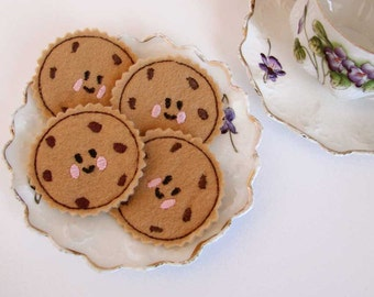 Kids Play Felt Food, Chocolate Chip Cookies, Tea Party Pretend Play Kitchen