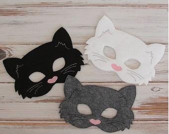 Cat Mask, Kitty Felt Mask, White or Black, Costume Kids Pretend Play