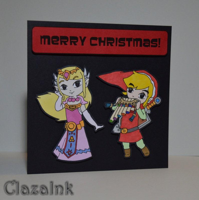 cab813085cb2e Link   Zelda Christmas Card Hand Drawn NOT Printed Fun 3D