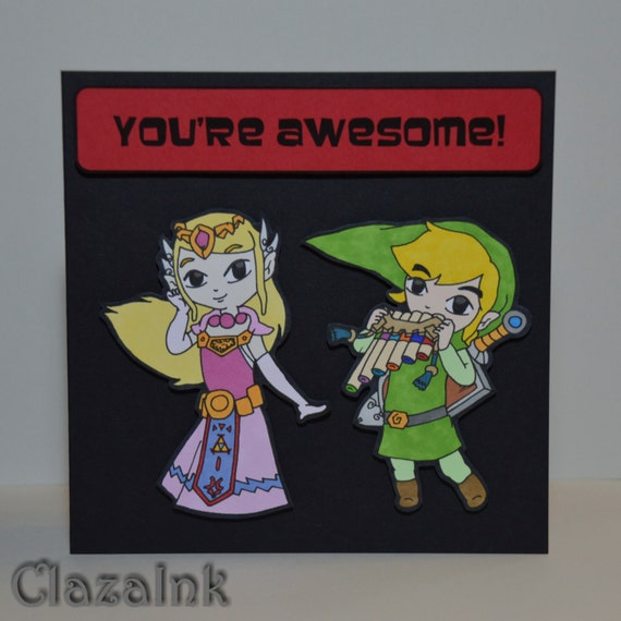 Zelda & Link Card Geek Game Nintendo Birthday Anniversary