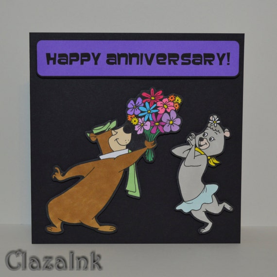 Yogi Cindy Bear Karte Jahrestag Romantische Retro Etsy