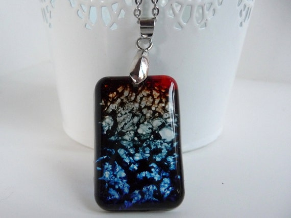 Dark Rainbow Tie Dye Resin Pendant Necklace Keychain