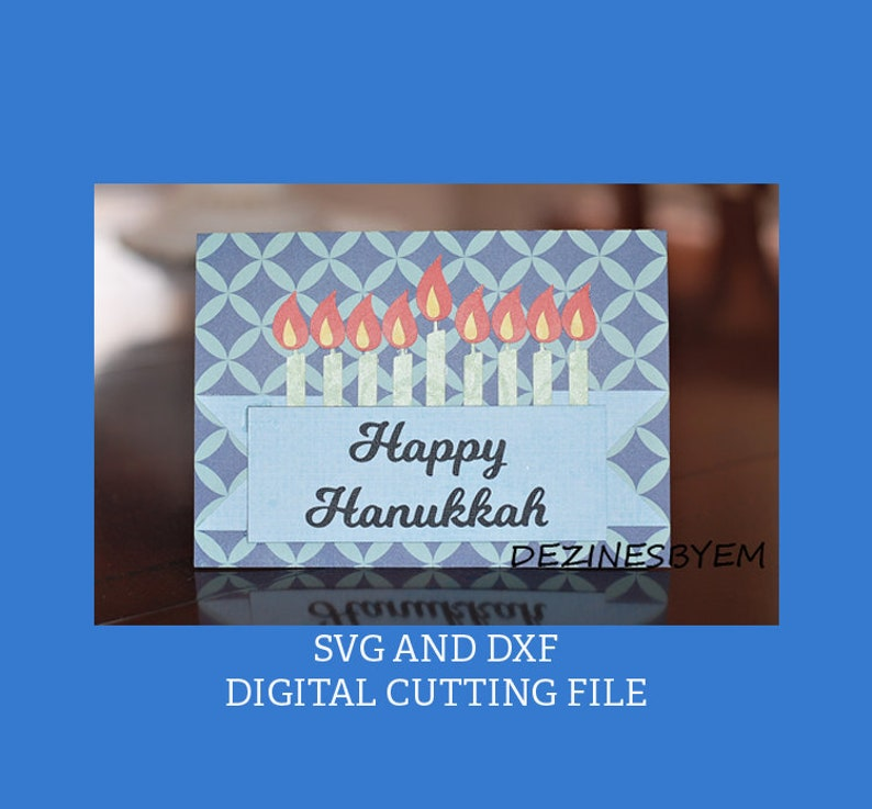 Happy Hanukkah Card menorah SVG for electronic cutting image 0