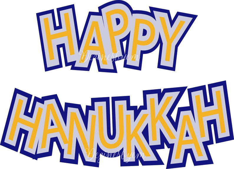 Happy Hanukkah SVG. Cuttable vector file for Silhouette and image 0