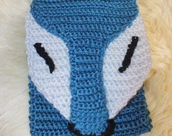 Foxy Whimsical Crocheted Scarf in Ocean Teal and Grey