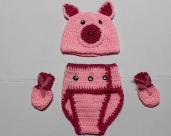 Pig Themed Diaper Cover Set