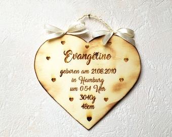 "Geburtstafel ""Evangeline"" Vintage / Herztafel aus Holz / Geburtsgeschenk / Taufgeschenk / Babygeschenk personalisiert"