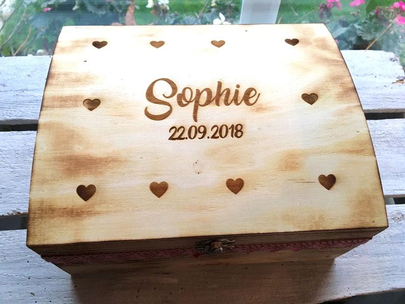 Aufbewahrungsbox personalisiert mit Namen Geschenk Geburt Erinnerungsbox Baby Jungen Holz Erinnerungskiste Taufgeschenk Babygeschenk