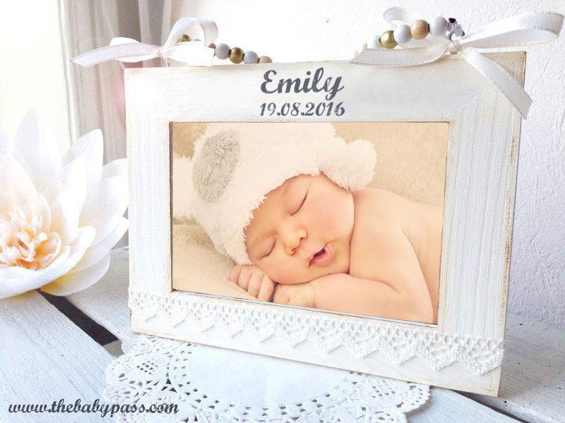Bilderrahmen Geburt / Taufe Shabby Chic mit Gravur | Etsy