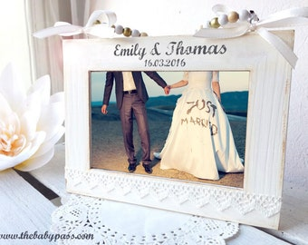 Photo frame photo 15x10cm / picture frame personalized with desired text / wooden frame engraved for wedding / photo frame engraved