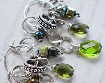 earrings, peridot earrings, garnet earrings, hoop earrings, bohemian earrings, boho chic earrings, purple earrings, summer trend, for her