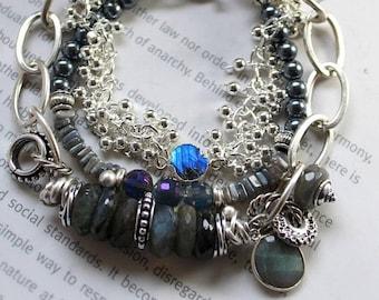 bracelet, labradorite bracelet, layered bracelet, grey bracelet, bohemian bracelet, christmas for her, sterling silver bracelet, boho chic