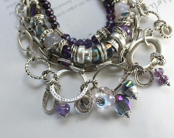 bracelet, African amethyst bracelet, amethyst bracelet, chalcedony bracelet, bohemian bracelet, christmas for her, purple bracelet