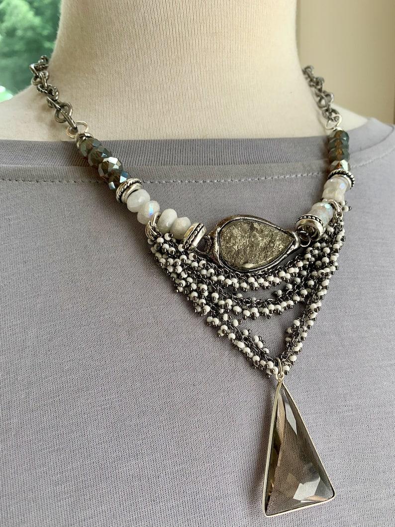 smoky quartz jewelry rainbow moonstone necklace pyrite necklace pearl necklace layered necklace for her bohemian necklace necklace