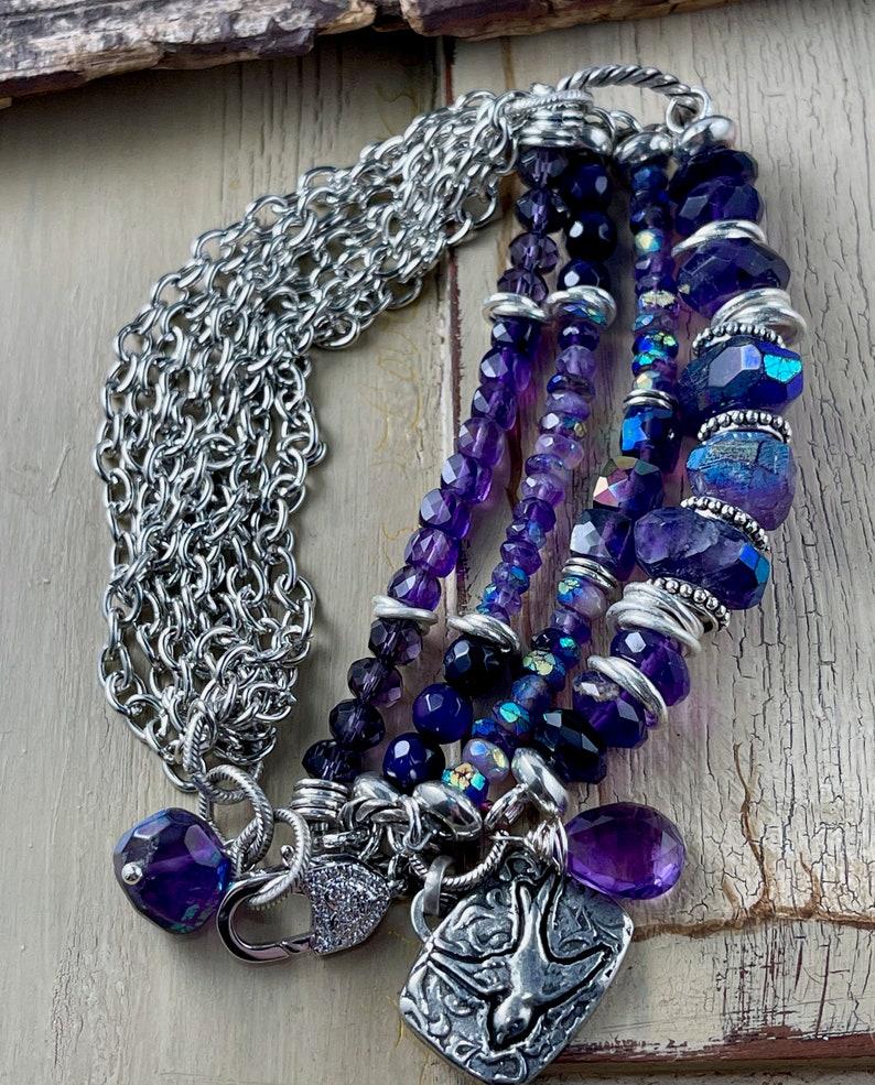 amethyst bracelet bracelet Valentine for her African amethyst bracelet CZ lobster bracelet for her amethyst bracelet CZ bracelet
