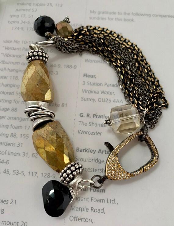 pearl bracelet artisan bracelet boho chic bracelet gift for her bracelet lobster closure chalcedony bracelet lobster claw bracelet