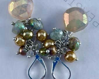 earrings, leverback earrings, citrine earrings, citrine jewelry, cluster earrings, mother's Day gifts, aquamarine earrings, citrine jewelry