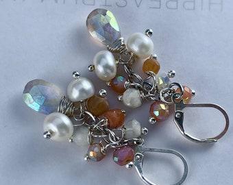 earrings, moonstone earrings, leverback earrings, peach moonstone earrings, leverback, pearl earrings, Christmas for her, moonstone jewelry