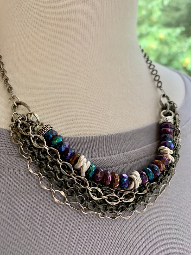 bohemian necklace Christmas for her boho chic necklace layered necklace chain necklace necklace artisan necklace spinel necklace