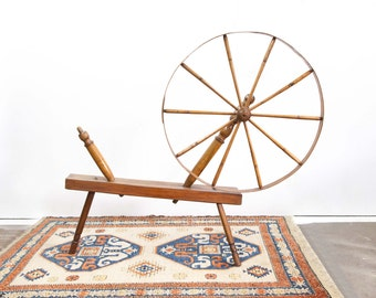Antique Spinning Wheel with Base