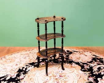 French Marquetry Three Tiered Stand