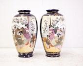 Beautiful Pair of Japanese Cobalt Satsuma Vases