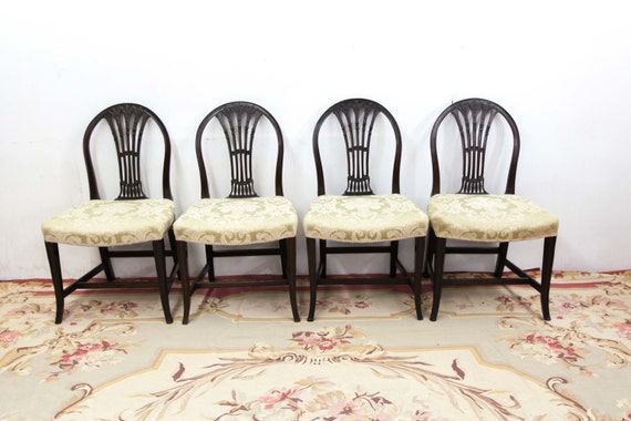 Set Of Four English Hepplewhite Chairs With Carved Sheave   Etsy