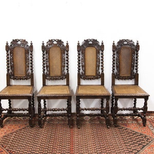 Gorgeous Set Of Four Carved Grapevine Barley Twist Chairs With Wheels