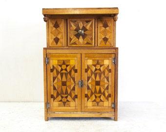 Miniature English Inlaid Tudor Style Court Cupboard